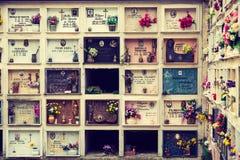 Italian Christian religion cemetery wall Stock Photography