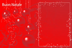 Italian Christmas card. With red balls and stars Royalty Free Stock Photos