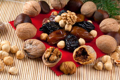 Italian Christmas Dried Fruit and Nuts Stock Photo