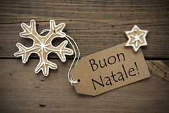 Italian Christmas Greetings with Ginger Breads Royalty Free Stock Photography