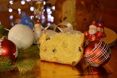 Italian christmas with panettone and spumante stock photo