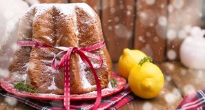 Italian Christmas pastries with lemon and powdered sugar. Typica stock images