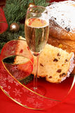 Italian Christmas with spumante and panettone Royalty Free Stock Photos