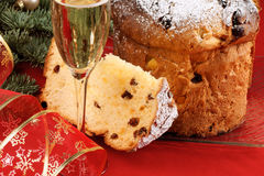 Italian Christmas with spumante and panettone stock photos