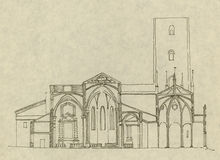Italian church in Chieri. Architectural drawing of an italian catholic church in Chieri (North of Italy). Hand drawn section Stock Images