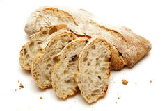 Italian ciabatta bread with olives Royalty Free Stock Photos