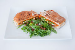 Italian ciabatta panini sandwich with chicken and tomato. On a white plate Stock Photography