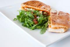 Italian ciabatta panini sandwich with chicken and tomato stock image