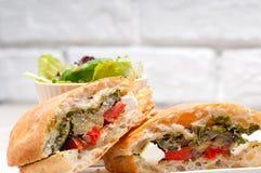 Ciabatta panini sandwichwith vegetable and feta Royalty Free Stock Photography