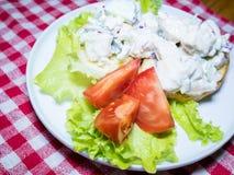 Italian ciabatta pollo salad with chicken and tomato dish. Italian ciabatta pollo salad with chicken and tomato Stock Photography