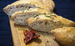 Italian ciabatta. With sun-dried tomatoes and oregano Royalty Free Stock Image