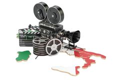 Italian cinematography, film industry concept. 3D rendering. Isolated on white background Stock Photography