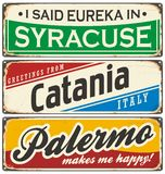 Italian cities retro metal signs set Royalty Free Stock Photography