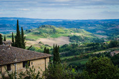 Italian Cities - San Gimignano. San Gimignano is a small walled medieval hill town in the province of Siena, Tuscany, north-central Italy. Known as the Town of royalty free stock photos