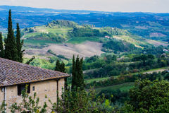 Italian Cities - San Gimignano. San Gimignano is a small walled medieval hill town in the province of Siena, Tuscany, north-central Italy. Known as the Town of Stock Image