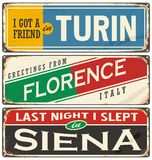 Italian cities and travel destinations. Retro metal plates set on old damaged background vector illustration