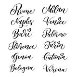 Italian city hand drawn vector lettering. Modern ink calligraphy. Brush typography of Rome, Naples, Bari, Florence, Genoa, Bologna Stock Images