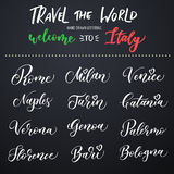 Italian city hand drawn vector lettering. Modern ink calligraphy. Brush typography of Rome, Naples, Bari, Florence, Genoa, Bologna Royalty Free Stock Image