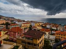 Italian city ready for the storm stock image