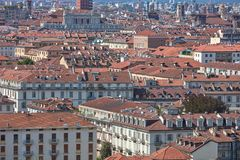 Italian city rooftops and buildings texture background view in a summer day. Italian city rooftops and buildings texture background view in a sunny summer day royalty free stock photography