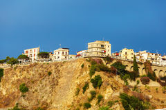 Italian city Scilla on a hill Stock Images