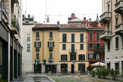 Italian city street with color houses. Royalty Free Stock Photography