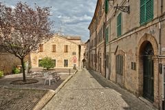 An ancient Italian town on the hills. stock images