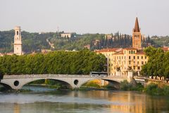 Italian Cityscape. Verona. Verona, northern Italy. View of city and river in evening sunlight Stock Photography