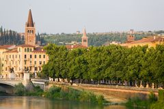 Italian Cityscape. Verona. Verona, northern Italy. View of city and river in evening sunlight Royalty Free Stock Image