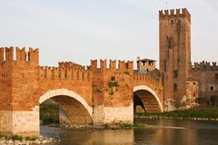 Italian Cityscape. Verona. Verona, northern Italy. View of city and river in evening sunlight Royalty Free Stock Photo