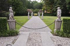 Italian classic garden. Wide angle shot Royalty Free Stock Photography