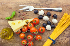 Italian classic ingredients for pasta from above Stock Images
