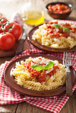 Italian classic pasta fusilli with tomato sauce and basil Royalty Free Stock Image