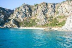 Cliffs of italian coasts. Italian cliffs rare view of Cape Vatican stock photo