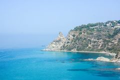 Cliffs of italian coasts. Italian cliffs rare view of Cape Vatican stock images