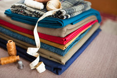 Italian cloth suit, tailoring tradition, colorful fabric and tai Royalty Free Stock Photo
