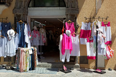 Italian clothes shop boutique with colorful dresses Royalty Free Stock Photo
