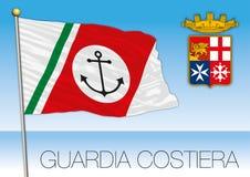 Italian Coast Guard flag, Marina Militare, Italy Stock Image