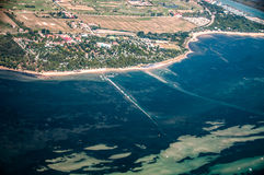 Italian coast line. North Adriatic coast line in a summer day viewed by a Cessna 172 Royalty Free Stock Image