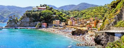Italian coast panorama. Panoramic coastal view at Monterosso, Cinque Terre, Italy Royalty Free Stock Photo