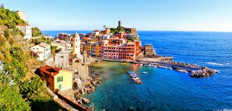 Italian coastal village panorama Royalty Free Stock Photo