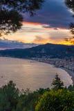 Italian coastline at dusk, Alassio summer destination Stock Photos