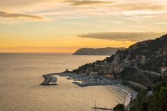 Italian coastline at dusk Royalty Free Stock Image
