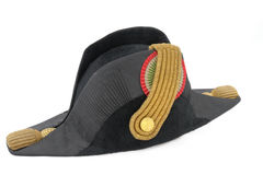 Italian cocked hat of Italian navy doctor. (officer). Black and gold. The begging of 19 century. (Path for isolation Royalty Free Stock Photos