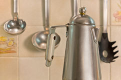 Italian Coffe Maker on the Stove Royalty Free Stock Image