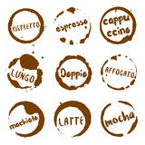 Italian coffee collection of round watercolor. Royalty Free Stock Photos