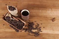 Italian coffee concept with cafe set Stock Photos