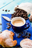Italian coffee and croissant Royalty Free Stock Photography