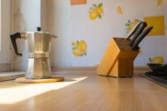 Italian Coffee Espresso Pot Kettle Cooking Equipment Sunlight Ca Royalty Free Stock Photo