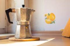 Italian Coffee Espresso Pot Kettle Cooking Equipment Sunlight Ca Stock Photo